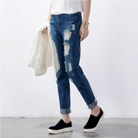 Wholesale Loose Cargo Pants For Women - 2016 New Arrival Women's ripped jeans Fashion classic boyfriend jeans for woman Loose hole vintage blue ripped brand denim pants