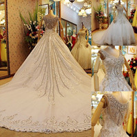 Wholesale Designer Cathedral Wedding Gowns - Luxury Expensive Designer Wedding Dresses 2014 Eiffelbride with Bling Bling Crystal Beading and Embellished Lace Applique Bridal Ball Gowns
