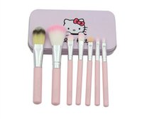 Wholesale Iron Sell - Hot Selling Hello Kitty Make Up Cosmetic Brush Kit Makeup Brushes Pink Iron Case Toiletry Beauty Appliances Cute Mini Case 7pcs set