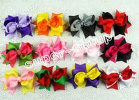Wholesale Ribbon Layered Boutique - 50pcs Baby handmade 3 inch grosgrain ribbon Bowknot sharp corner two-tone hair bows boutique hair clips Layered hair accessories HD3205