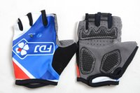 Wholesale Cycling Gear For Women - 2015 Hot Sale FDJ Cycling Gloves Blue Half Finger Men Women Road Cycling Protective Gear Comfortable Gloves Size S-XL For Choice