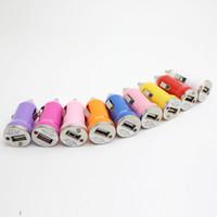 cargador de móvil de colores al por mayor-Mini cargador de coche Adaptador universal para iphone7 6 6 más 5 teléfonos móviles usb Cargador de coche Envío gratis 10 colores