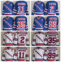 Factory Outlet, Throwback CCM Vintage New York Rangers Hockey Jersey # 35 Mike Richter 2 Brian Leetch # 11 Mark Messier # 99 Gretzky V Neck Jer