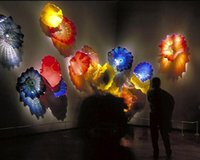 Contemporâneo Tipo Decoração de parede Hand Blown Glass Wall Art Plates Colorful Chihuly Murano Glass Flower Plates Hanging Wall Art