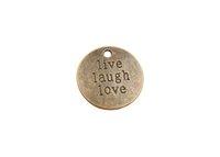 yaşa sev gül toptan satış-20 ADET Antiqued Bronz Canlı Gülmek Aşk Charms # 91329