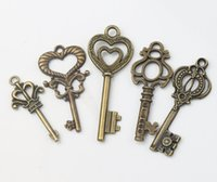 Sceptre Heart Key Charms Pendants 100pcs / lot Retro 5Styles Antique Bronze Fashion Jewelry Bricolage Fit Bracelets Collier Boucles d'oreilles L1005