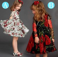 Wholesale Crepe Factory - 2015 wlmonsoon new children's fashion dresses girls rose pleated chiffon skirt 2-7 years children red dress factory direct 5pcs