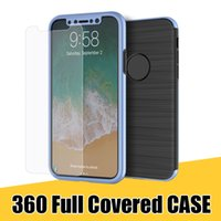 Wholesale Iphone Film Protector Case - for iPhone X 8 7 Phone Case 360 Full Coverage Cellphone Shell with Protector Film for Samsung Note8 S8 S8plus with Retail Package