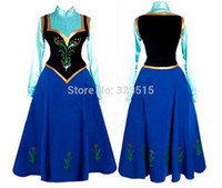 Anime Costumes Cotton Others Wholesale-2015 Snow Queen Princess Anna Made Cosplay Costume For Adult Womens With Cloak Coronation Dress Free Shipping