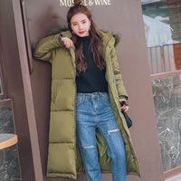 Wholesale Larger Women S Clothes - Hooded Women Snowwear Winter Clothing Jackets and Coats Larger Fur Collar Female Cotton Padded Long Parkas Free Shipping