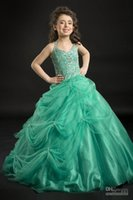 Wholesale Girl S Occasion Dress - Cute Green Halter Organza Stack Up Ball gown Girl`s Special occasion Dresses Ankle Length with Beaded and Ruffles Girls Dresses