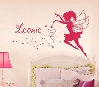 Wholesale Fairy Names - Fairy Personalized Name Art Decals Home Decor Vinyl Wall Stickers for Girls Bedroom