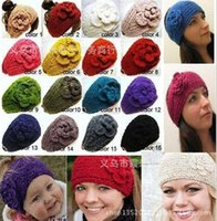 Wholesale Crochet Flowers Sold - best-selling Women's Fashion Wool Crochet Headband Knit Hair band Flower Winter Ear Warmer