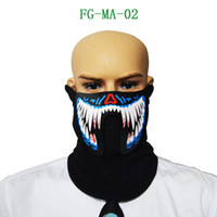Wholesale voice control lighting - Wholesale- Interesting LED Voice Control Big Terror Masks Cycling Riding Outdoor Mask Cold Light Helmet Fire Festival Party Glowing Masks