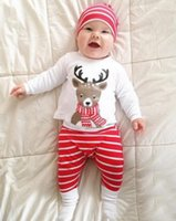 Wholesale Baby Long Sleeve Stripe Top - Ins Christmas Baby outfits Scarf Reindeer Top Long sleeve +Red Stripes Pant + hat 3pcs set 100% Cotton Autumn Fall 2017