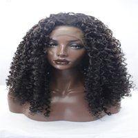 Wholesale best synthetic lace wigs for sale - Group buy lace front wig Best quality Short Curly wigs Synthetic Ladys Hair Wig Short curly Africa American synthetic lace front Wig for black woman