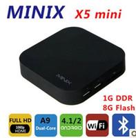 Wholesale Neo X5 Dual Core - Wholesale-by dhl or ems 10 pieces MINIX NEO X5 mini Android TV Box Mini PC Dual Core 1.6GHz 1G 8G HDMI Media Player Smart Box Receiver