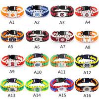pulseras del equipo al por mayor-Mix Styles Collegiate Team Paracord Survival Bracelets Pulseras deportivas de camping personalizadas Logotipo personalizado Colleage StudentTeam umbrella