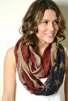 Wholesale Scarves American - 2015 hot sale Fashion viscose Vintage American Flag Infinity Scarfs Snood USA Women voile Scarves Shawls DHL free
