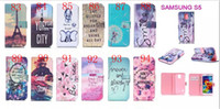 Wholesale Iphone Wallet Eiffel - 2015 Owl Eiffel Tower Flower Tribal balloon Design Case For Iphone 6 6s 6s plus Wallet Stand Style Flip Cover Bags with card 170pcs lot