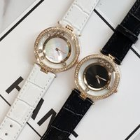 Wholesale Roll Drops - New model Luxury Female watch women leather wristwatch with rolling diamond White Black color Hot sale Classic quartz for girl drop shipping