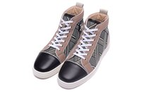 Wholesale Fabric Check - Luxury Brand Red Bottom Sneakers Black Suede with Spikes Casual Mens Womens Shoes Stripe check shading Trainers Footwear Flat Shoes