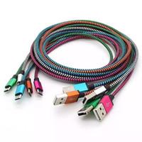braided cable оптовых-Тип C USB-кабель для S9 S8 непрерывный металлический разъем ткань нейлоновая оплетка Micro USB кабель ведущий шнур зарядного устройства V8 для Samsung S7/6/5 1M 2M 3M