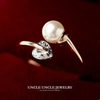Rose Gold Color Never Let Go Design Twin Style Heart-shape Zircon Simulated Pearl Lady Finger Ring Atacado