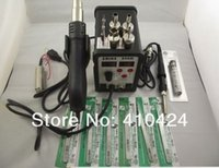 Wholesale cored solder - Saike 898D BGA SMD Rework Soldering Station HOT AIR GUN & Solder Iron 2in1 + 3 tips + 2 heating core + 6 tweezers