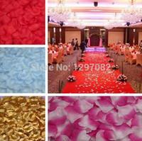 konfeti yaprakları toptan satış-1000 adet İpek Gül Çiçek Yapraklı Yapraklar Düğün Süslemeleri Parti Festivali Masa Konfeti Dekor 8 renkler