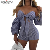 SEBOWEL 2017 Blau Weiß Streifen Sexy Fliege Strampler Lantern Long Sleeves Off Schulter Frauen Playsuit Bodycon Jumpsuit Shorts q1113