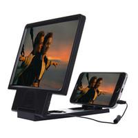 усилители оптовых-Обновление увеличенный экран 3D видео усилитель глаза дисплей увеличительное с динамиком сотовый телефон стенд с пакетом 100 шт. / лот Бесплатная доставка