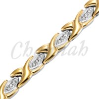Wholesale Ionic Magnetic Bracelets - 2-Tone Silver 18K Gold Ionic Plating Magnetic Health Ladies Bracelet with 39pcs Crystals Free Shipping Bangle via Hong Kong Post