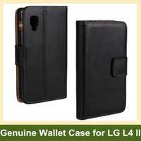 Wholesale Lg L4 Ii Cover - Wholesale Popular Genuine Leather Walelt Flip Cover Case for LG Optimus L4 II E440 Free Shipping
