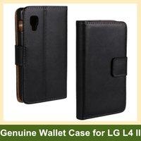 Wholesale Optimus L4 - Wholesale Popular Genuine Leather Walelt Flip Cover Case for LG Optimus L4 II E440 Free Shipping