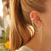 Wholesale Cheap Gold Ear Cuff - Fashion Gold Ear Cuff Women Punnk Statement Jewelry Wholesale Price Cheap Chain Leaves Earrings For Women Men Gift Studs Earrings