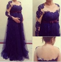 Wholesale Sweetheart Empire Sleeve - Navy Blue Maternity Evening Dresses 2016 Lace Long Sleeves Empire Sweetheart Formal Occasion Prom Party Plus Size Pregnant Gowns Custom