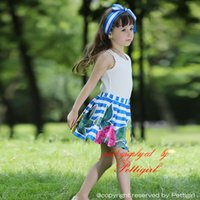 Wholesale shirts for girls new style for sale - Group buy Pettigirl New Lace Girls Clothing Set With White T Shirt And Skirt Stripe Print Floral Children Summer Outfits For Kids Wear CS80828 F