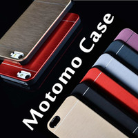 Wholesale Luxury Cell Phone Case Wholesale - Luxury Metal Motomo Aluminum Brushed Cell Phone Hard Case For iPhone 7 6 6S Plus 4.7 5.5 inch Samsung S7 S6 Edge Note 5 Free DHL MOQ:100pcs