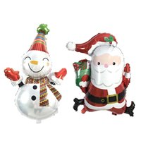 Wholesale Christmas Snowman Inflatables - 50Pcs lot Santa Claus Foil Balloons snowman Merry Christmas Balloons Helium Balloon Inflatable Christmas Decoration kids Classic Toys