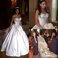 Wholesale Cathedral Train Ball Wedding - 2015 New Pnina Tornai Wedding Dresses Ball Gowns Sweetheart Ivory Sparkly Crystal Beaded Lace Up Cathedral Train Church Bridal Gowns