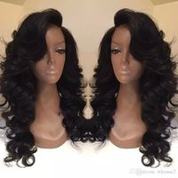 Discount celebrity hair bangs - Celebrity style Synthetic wigs loose body wave Hair Wig Natural black 1B color with side bangs pelucas black women full wigs