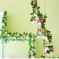 Wholesale Silk Leaf Garland - 2016 Love wedding Artificial Rose Silk Flower Green Leaf Vine Garland Home Wall Party Decorations 240cm pc Free shipping