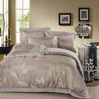 palace express - Luxury palace royal s yarn satin silk pink floral Jacquard King Queen size bed sheet set TB2010 Express shipping