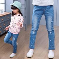 Wholesale Color Pencils Kids - Big virgin Girls Children Student Rhinestones Jeans Pencil Pants For Kids Teenage Girls Clothing Denim Long Pants New 2018 5-12 year