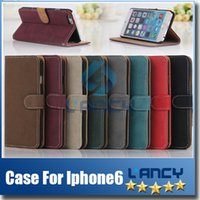 Wholesale Iphone 5s Case Piece - For Iphone 6 4.7''inch IP6 5.5''inch Stand Design Wallet Case Luxury Leather Case Card Holder Photo Frame 50 Pieces For iphone 5 5s 4 4s