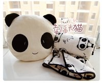 Wholesale Cute Pillow Blankets - 30cm super cute hot sale plush panda toy doll, stuffed pillow cushion toy with blanket inside, birthday gift for girls, 1pc