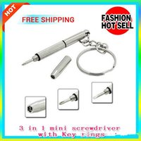 Wholesale Wholesalers For Rings Watches - 3-in-1 Portable Mini tool Multi-function Screwdriver with key rings for RBA RDA Clt V2 DIY Atomizer Ecigs Glasses Cell Phone Camera Watch