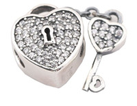 Wholesale European Rhinestone Cube - 100% Sterling Silver Charms 925 ALE Heart Key with Rhinestone European Beads Gift for Lover Free Shipping