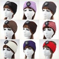 Womens Soft Warm Headbands Ladies Winter Crochet Yarn Head Wrap Beanies  hair accessories headwear Turban Bandanas Hats 10 colors WHA42 a08d68ad7f18